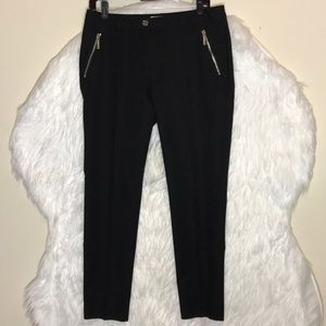 Michael Kors Black Silver Zip Pockets Pants